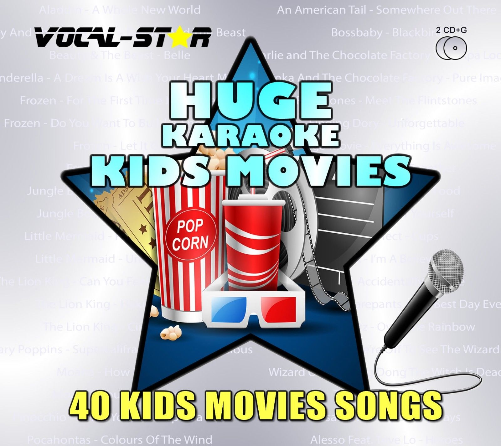 Vocal-Star Huge Karaoke Hits of Kids Movies - 40 Songs - 2 CDG Disc Set