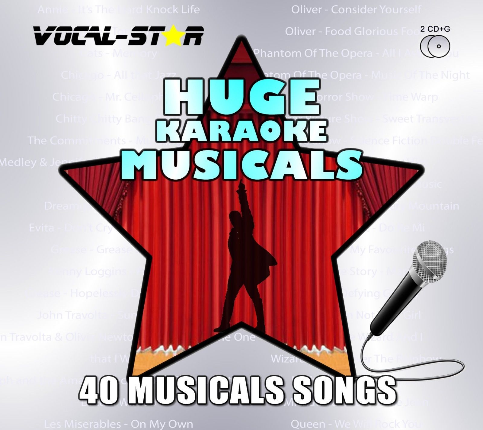 Vocal-Star Huge Karaoke Hits of Musicals - 40 Songs - 2 CDG Disc Set